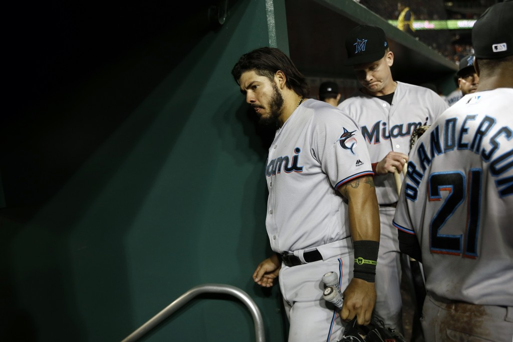 Miami Marlins' Jorge Alfaro walks out of the dugout after a baseball game against the Washington Nationals, Friday, May 24, 2019, in Washington. (AP P...