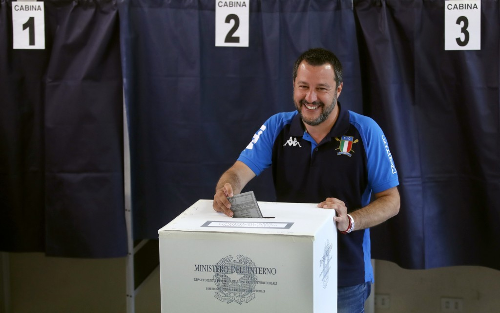 Italian Interior Minister and Deputy Premier Matteo Salvini, of the League, casts his ballot for the European Parliament elections, at a polling stati...