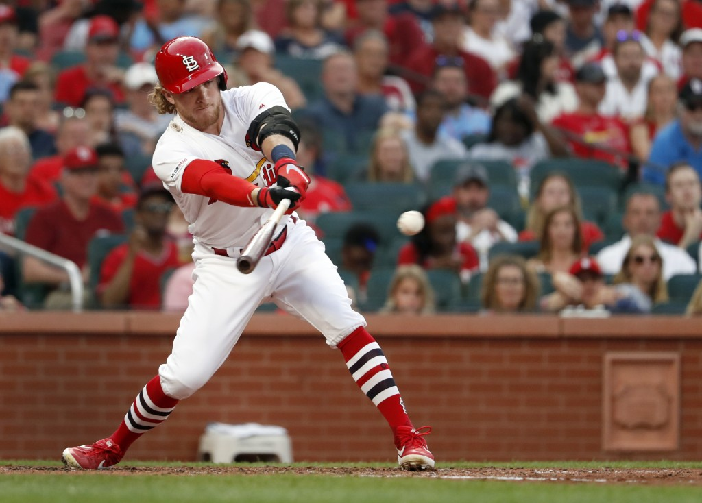 St. Louis Cardinals' Harrison Bader hits an RBI single during the fourth inning of a baseball game against the Atlanta Braves Sunday, May 26, 2019, in...