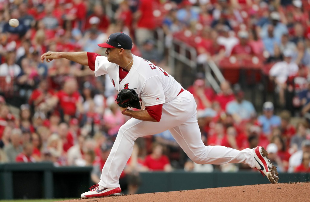 St. Louis Cardinals starting pitcher Jack Flaherty throws during the first inning of a baseball game against the Atlanta Braves, Sunday, May 26, 2019,...
