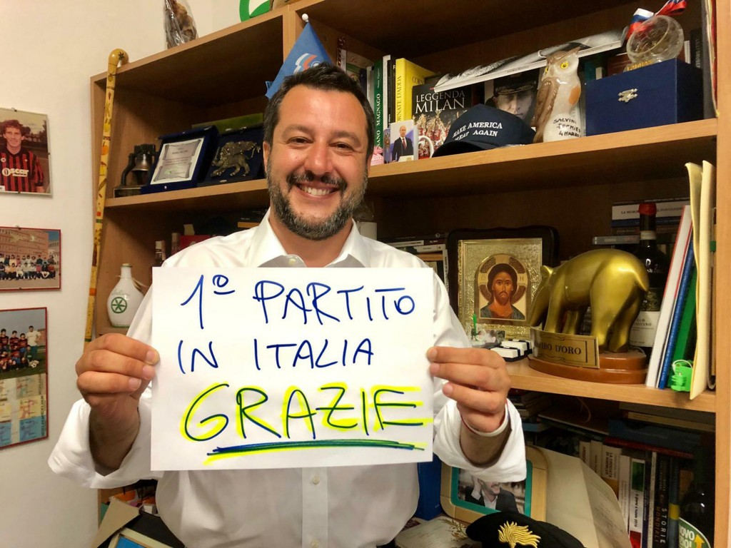 In this photo provided by the League party press office, Italian Interior Minister, Deputy-Premier and leader of the League party, Matteo Salvini, sho...