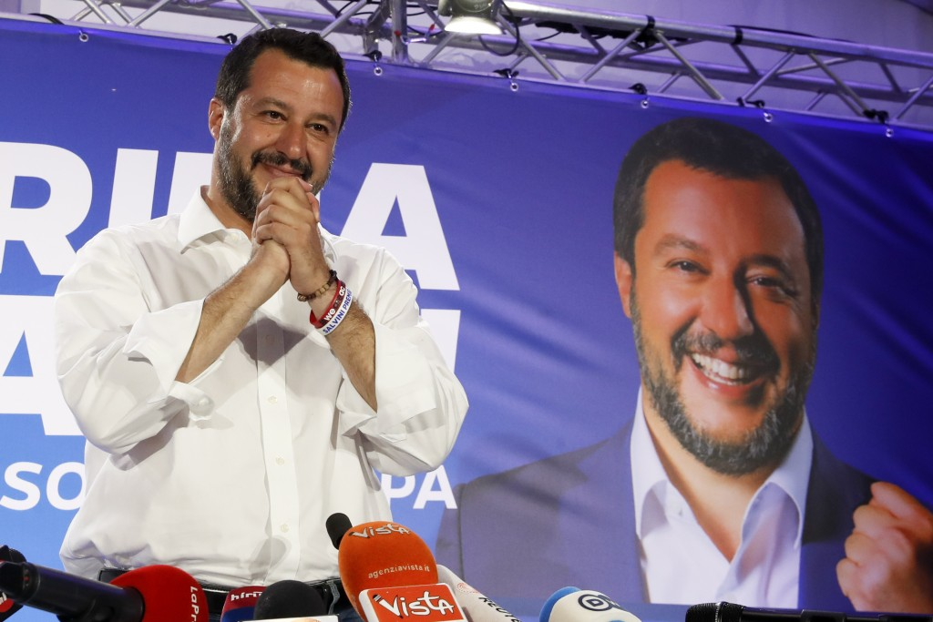Italian Interior Minister and Deputy Premier Matteo Salvini arrives to meet reporters for a press conference at the League headquarters in Milan, Ital...