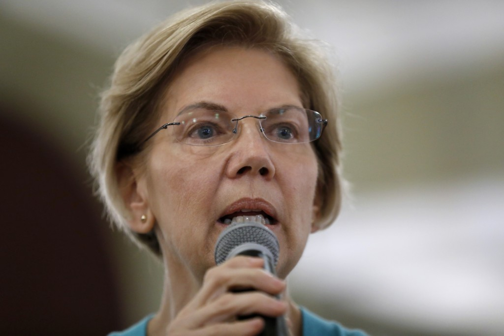 Democratic presidential candidate Sen. Elizabeth Warren speaks to local residents during a meet and greet, Sunday, May 26, 2019, in Ottumwa, Iowa.(AP ...