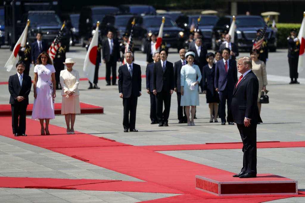 President Donald Trump and first lady Melania Trump participate with Japanese Emperor Naruhito and Japanese Empress Masako in a Imperial Palace welcom...