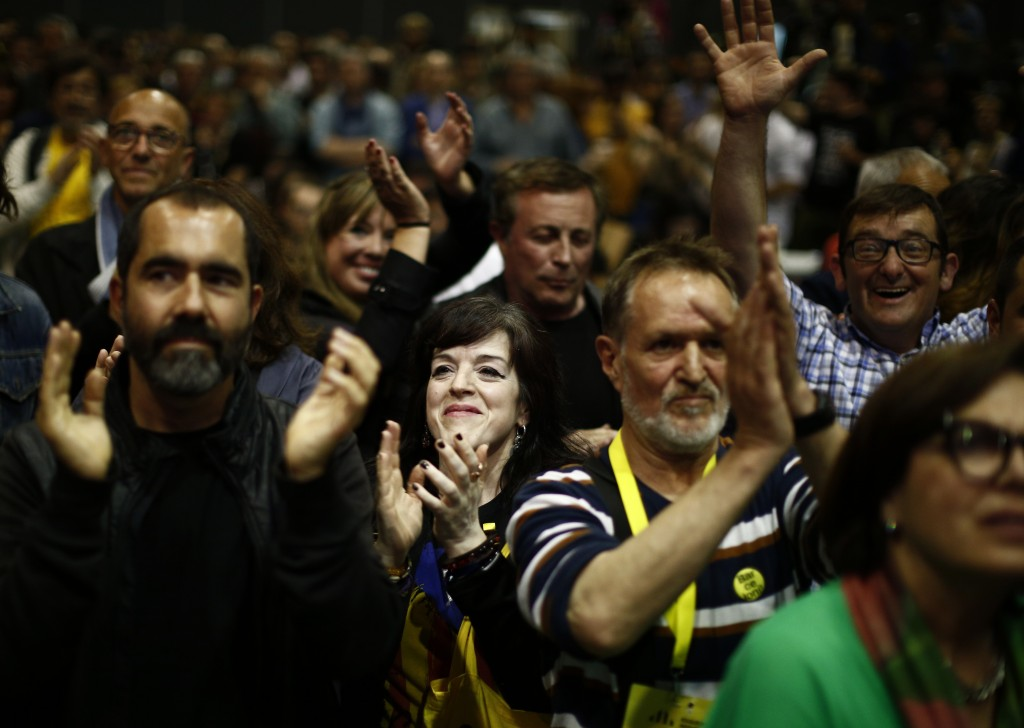People react at the Esquerra Republicana of Catalonia party headquarters in Barcelona, Spain, Sunday, May 26, 2019. Former Catalan regional president ...
