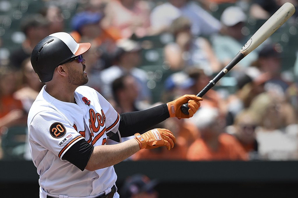 Baltimore Orioles' Renato Nunez follows through on a two run home run against the Detroit Tigers in the first inning of a baseball game Monday, May 27...