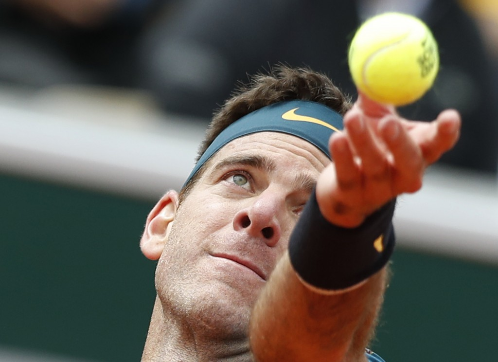 Argentina's Juan Martin del Potro serves against Chile's Nicolas Jarry during their first round match of the French Open tennis tournament at the Rola...