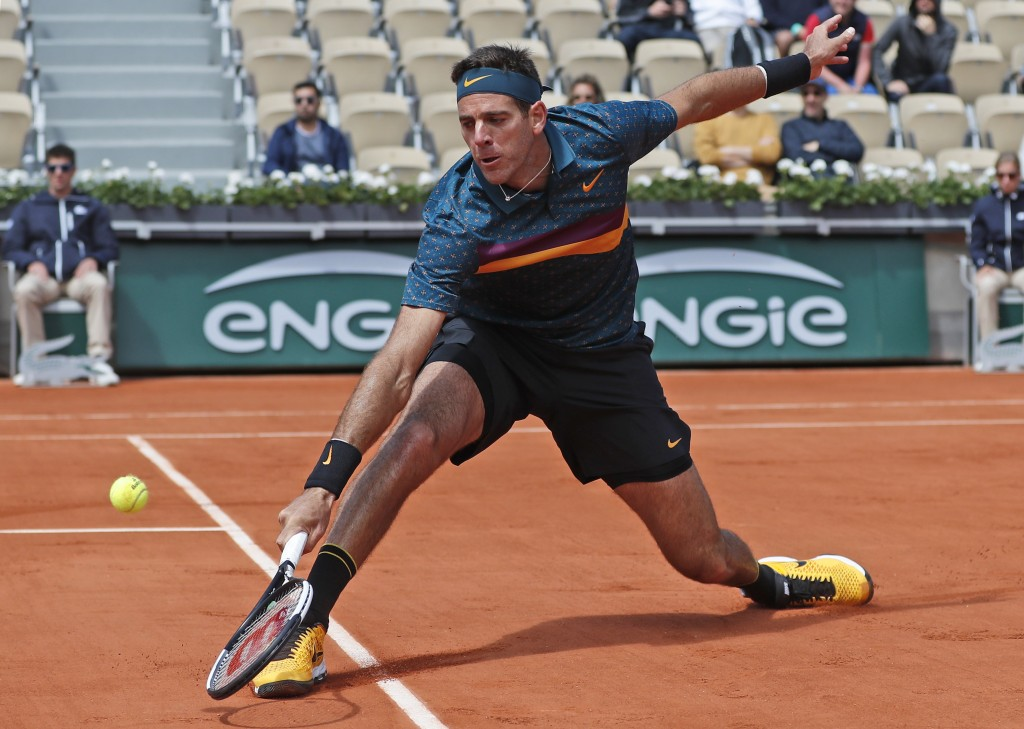 Argentina's Juan Martin del Potro plays a shot against Chile's Nicolas Jarry during their first round match of the French Open tennis tournament at th...