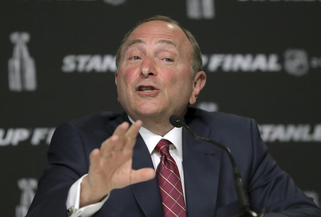NHL Commissioner Gary Bettman speaks to the media before Game 1 of the NHL hockey Stanley Cup Final between the St. Louis Blues and the Boston Bruins,...