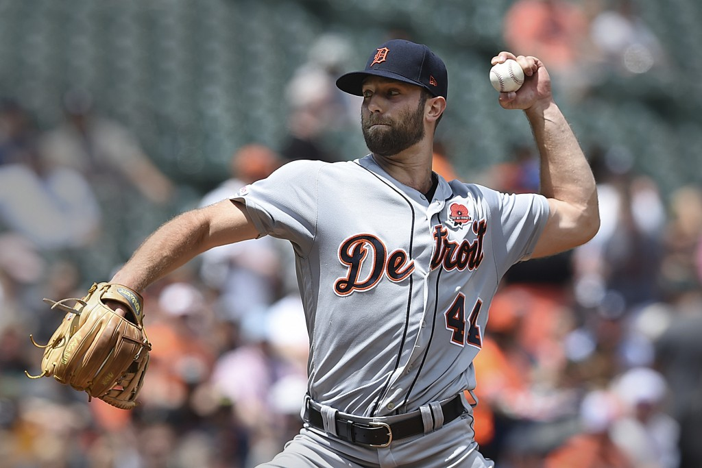 Detroit Tigers pitcher Daniel Norris throws against the Baltimore Orioles in the first inning of a baseball game Monday, May 27, 2019, in Baltimore, M...