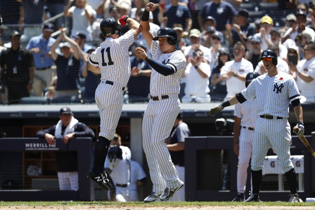 a9c27675a71 New York Yankees  Brett Gardner (11) celebrates with teammate Gio Urshela  after hitting