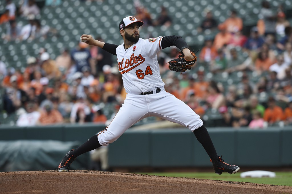 Baltimore Orioles pitcher Gabriel Ynoa throws against the Detroit Tigers in the first inning of a baseball game Monday, May 27, 2019, in Baltimore, Md...