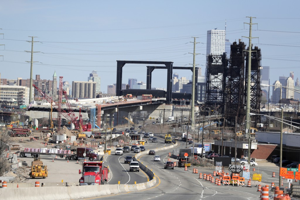 FILE - This April 17, 2019, file photo general view of the construction site of the new Route 7 drawbridge in Kearny, N.J. Small businesses want the f...
