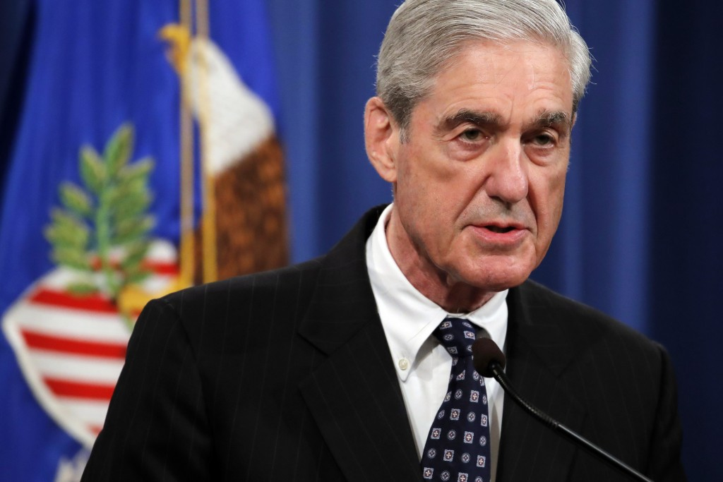 Special counsel Robert Mueller speaks at the Department of Justice Wednesday, May 29, 2019, in Washington, about the Russia investigation. (AP Photo/C...
