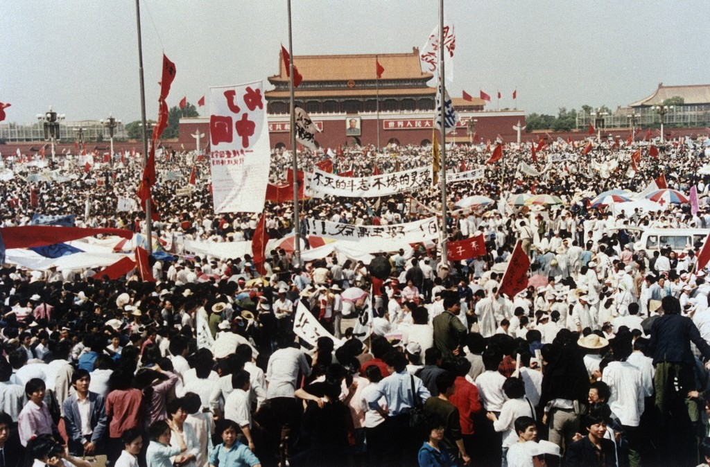 FILE - In this May 17, 1989, file photo, Tiananmen Square is filled with thousands during a pro-democracy rally, in Beijing, China. Over seven weeks i