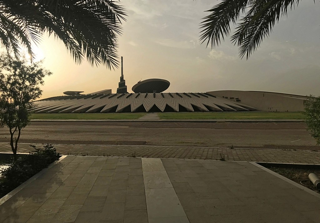 In this Tuesday, May 28, 2019 photo, the sun sets over the Monument of the Unknown Soldier, inside the Green Zone, in Baghdad, Iraq.  The 4-square mil