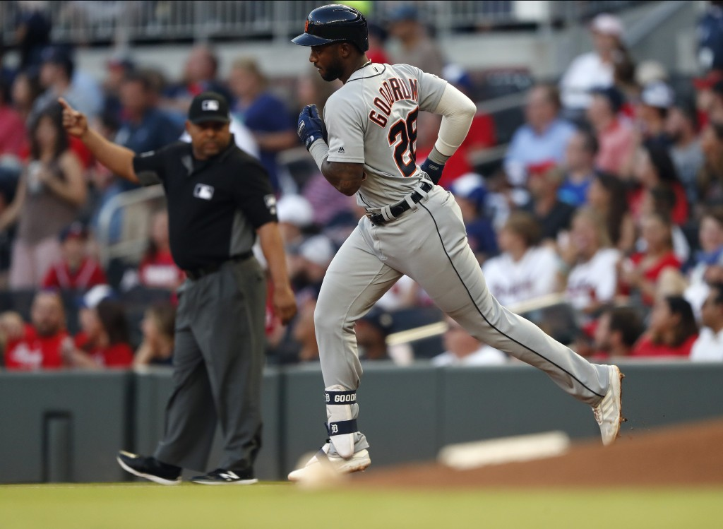 Detroit Tigers' Niko Goodrum rounds the bases after hitting a solo-home run in the third inning of a baseball game against the Atlanta Braves, Friday,
