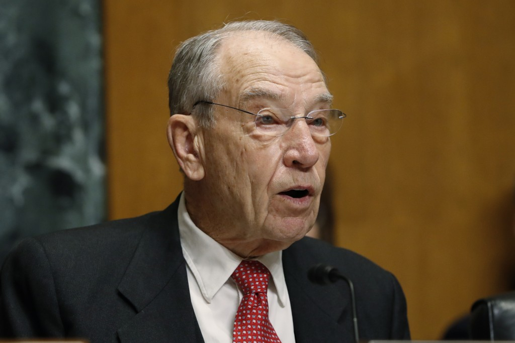 FILE - In this Feb. 26, 2019, file photo, Sen. Chuck Grassley, R-Iowa, chairman of the Senate Finance Committee on Capitol Hill in Washington. The sen...