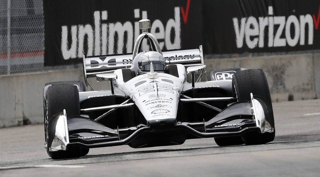 Simon Pagenaud, of France, drives through the second turn during a practice session for the first race of the IndyCar Detroit Grand Prix auto racing d