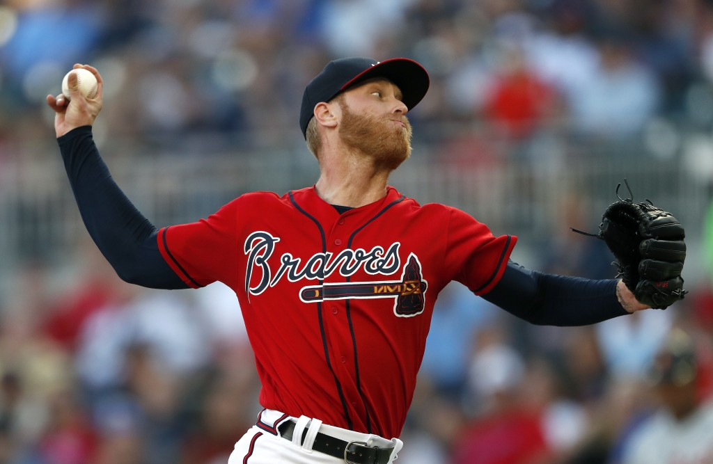 Atlanta Braves starting pitcher Mike Foltynewicz works against the Detroit Tigers in the first inning of a baseball game Friday, May 31, 2019, in Atla...