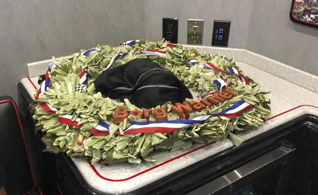 Indianapolis 500 champion Simon Pagenaud's wreath he won less than a week ago is seen Friday, May 31, 2019 in Detroit. Pagenaud lamented seeing the le...