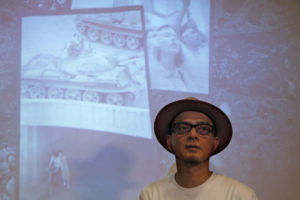 In this Saturday, June 1, 2019, photo, Hong Kong singer Anthony Wong speaks during an interview in Hong Kong. Thirty years after it was crushed by Chi