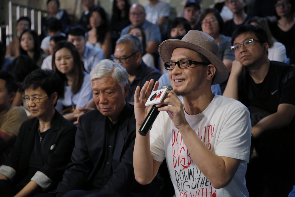 In this Saturday, June 1, 2019, photo, Hong Kong singer Anthony Wong shares his view on the military crackdown on Tiananmen Square in Hong Kong. Thirt...