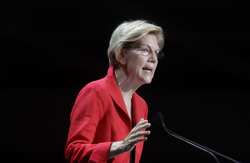 Democratic presidential candidate Sen. Elizabeth Warren, D-Mass., speaks during the 2019 California Democratic Party State Organizing Convention in Sa...