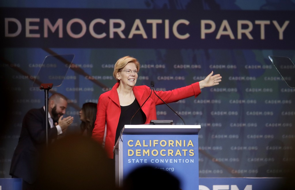 Democratic presidential candidate Sen. Elizabeth Warren, D-Mass., waves before speaking during the 2019 California Democratic Party State Organizing C...