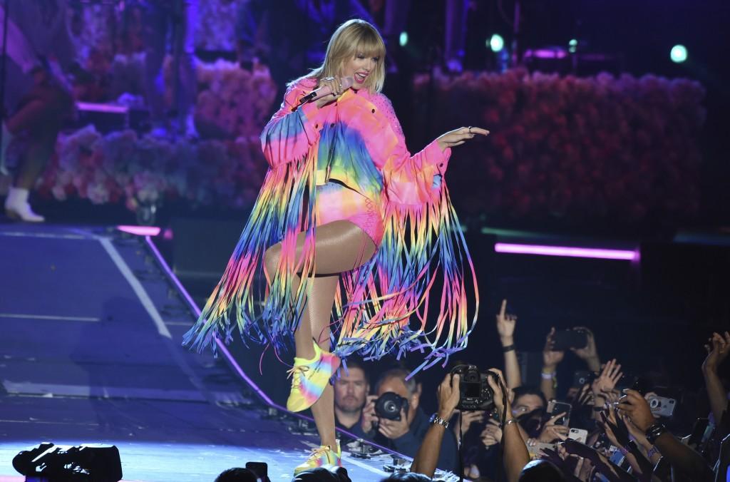 Taylor Swift performs at Wango Tango on Saturday, ...