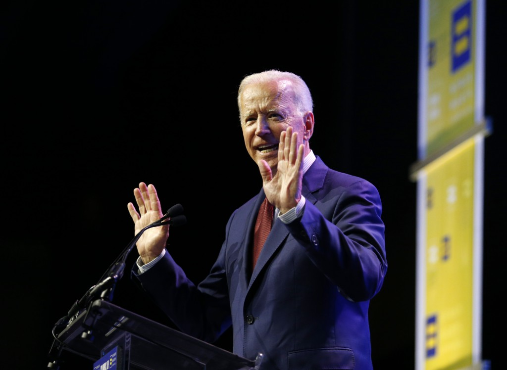 Democratic presidential candidate, former Vice President Joe Biden speaks during the Human Rights Campaign Columbus, Ohio Dinner at Ohio State Univers...