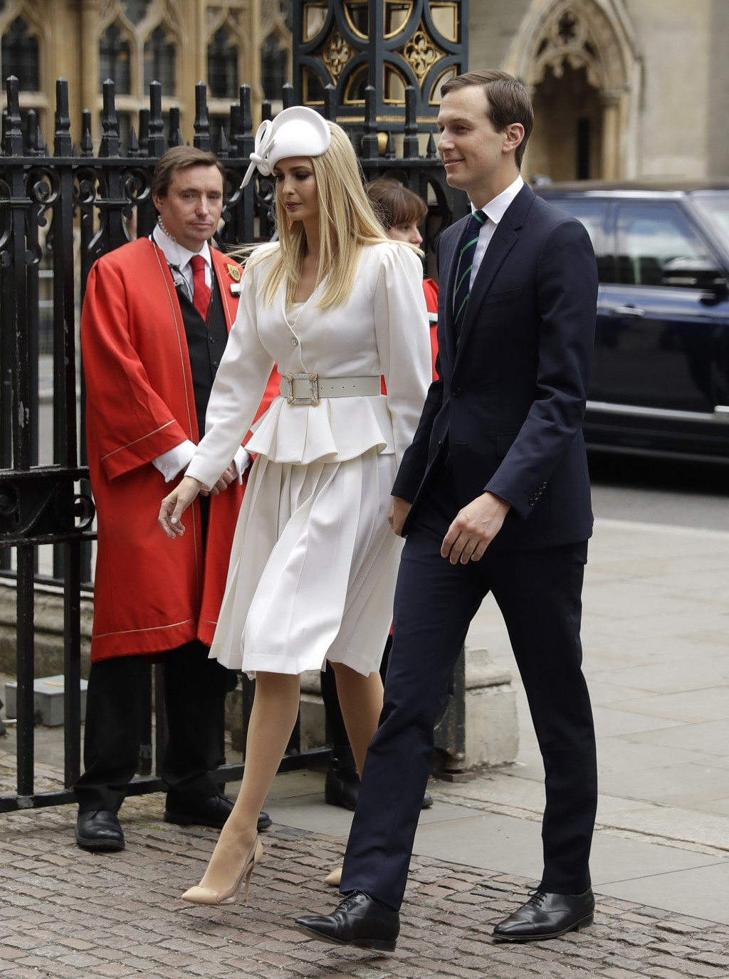 Jared Kushner, right, and Ivanka Trump arrive at Westminster Abbey in London, Monday, June 3, 2019 on the opening day of a three day state visit to Br