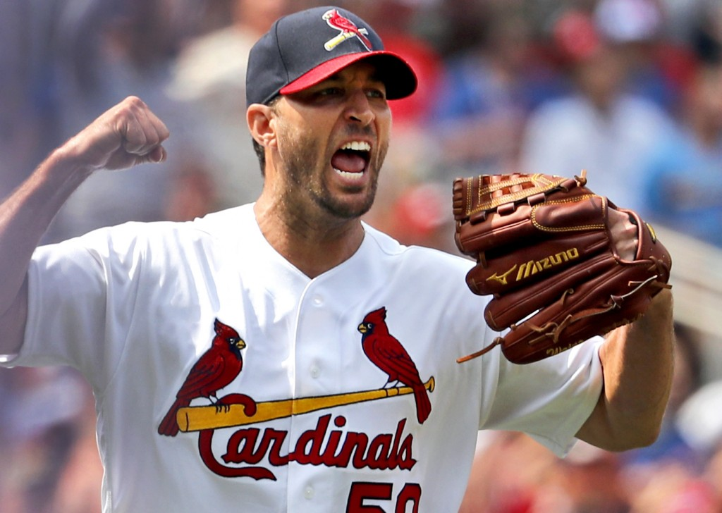 St. Louis Cardinals starting pitcher Adam Wainwright celebrates after getting Chicago Cubs' Anthony Rizzo to line out to end the top of the eighth inn