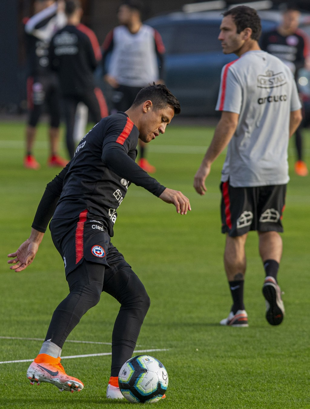 Chile's Alexis Sanchez controls a soccer ball during a training session in Santiago, Chile, Monday, June 3, 2019, ahead of the Copa America in neighbo