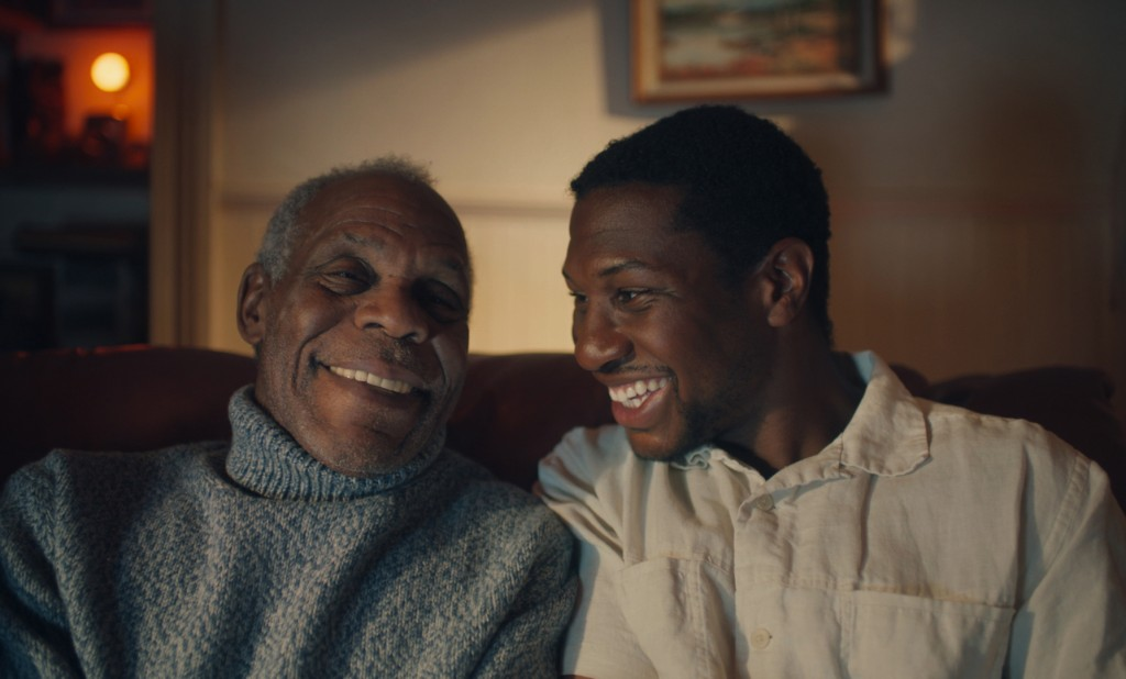 """This photo provided by A24 shows Danny Glover, left, starring as Grandpa Allen and Jonathan Majors, right, as Montgomery Allen in """"The Last Black Man ..."""