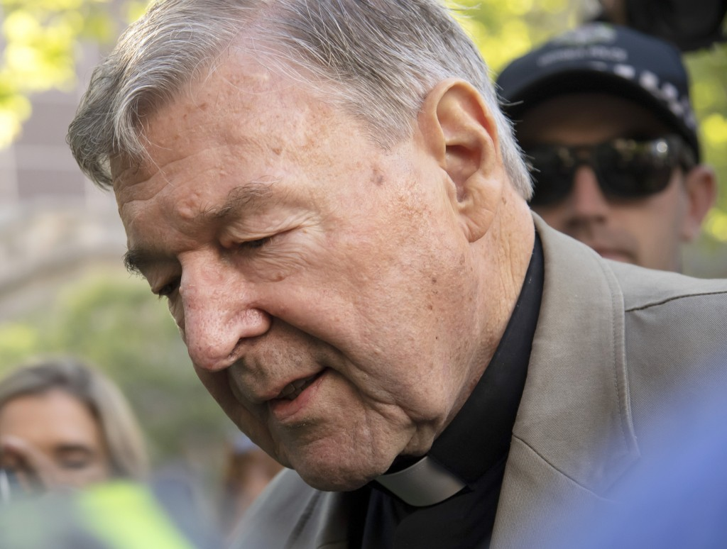 FILE - In this Feb. 27, 2019, file photo, Cardinal George Pell arrives at the County Court in Melbourne, Australia. Pell, the most senior Catholic con...
