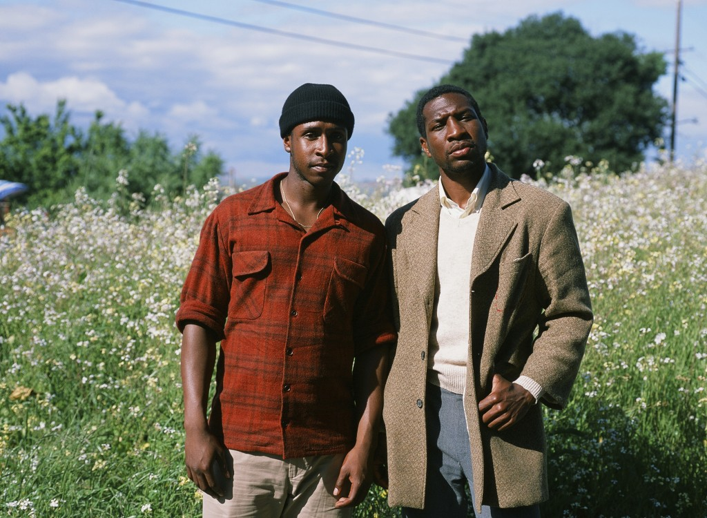 """This photo provided by A24 shows Jimmie Fails, left, who stars as Jimmie Fails and Jonathan Majors, right, as Montgomery Allen in """"The Last Black Man"""