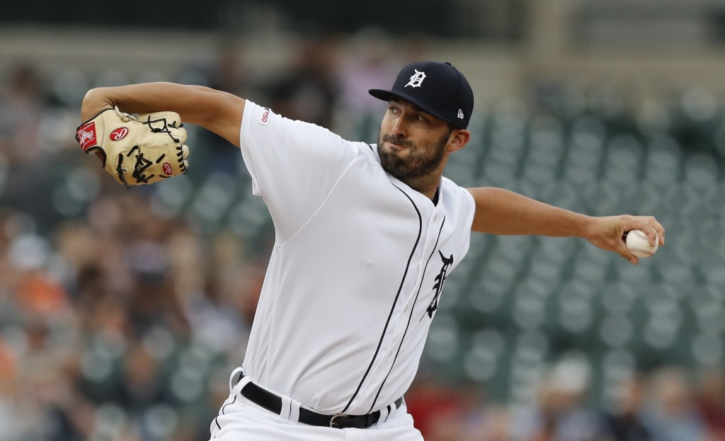 Detroit Tigers starting pitcher Ryan Carpenter throws during the first inning of the team's baseball game against the Tampa Bay Rays, Tuesday, June 4,...