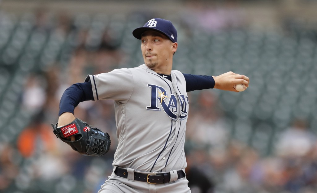 Tampa Bay Rays starting pitcher Blake Snell throws during the first inning of the team's baseball game against the Detroit Tigers, Tuesday, June 4, 20...