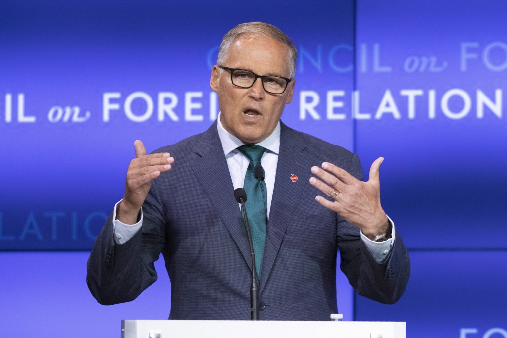 Democratic Presidential candidate Washington Gov. Jay Inslee speaks at the Council on Foreign Relations, Wednesday, June 5, 2019 in New York. (AP Phot