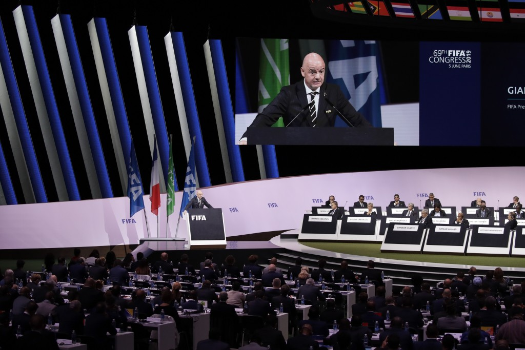 FIFA President Gianni Infantino delivers his speech during the 69th FIFA congress in Paris, Wednesday, June 5, 2019. Hours ahead of his re-election un...