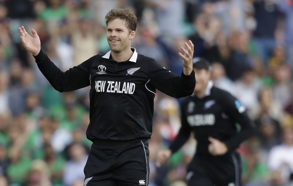 New Zealand's Lockie Ferguson celebrates taking the wicket of Bangladesh's Tamim Iqbal during the World Cup cricket match between Bangladesh and New Z...