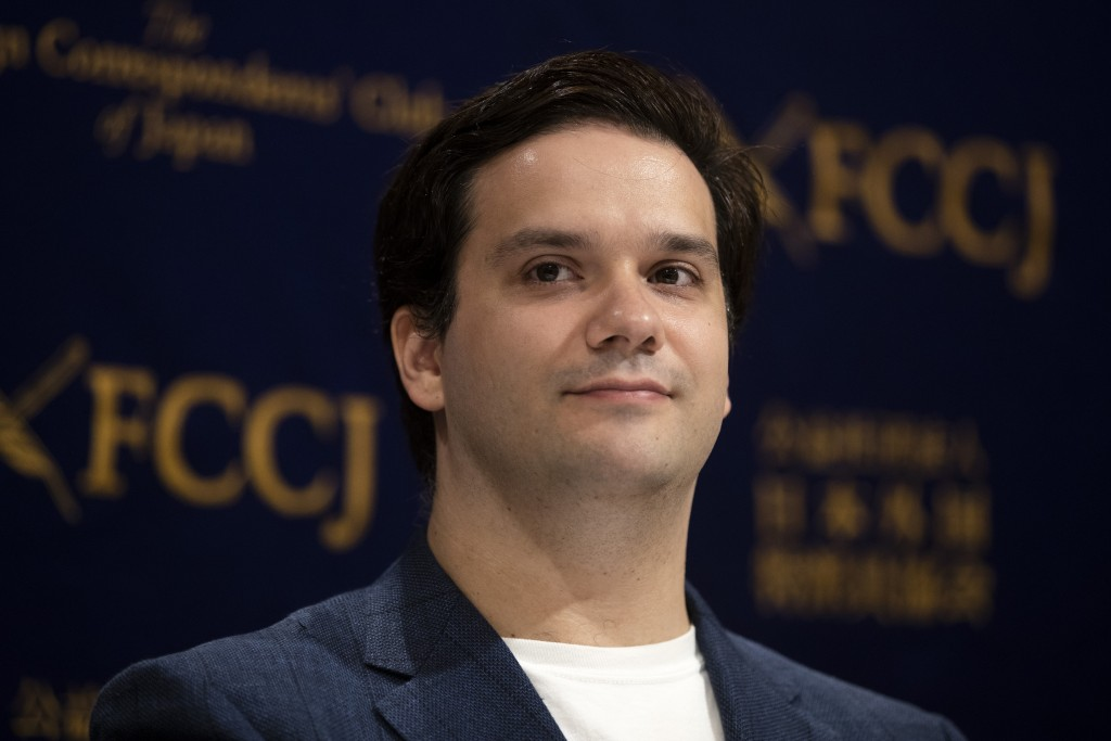 Former Mt. Gox CEO Mark Karpeles attends a news conference at the Foreign Correspondents' Club of Japan Wednesday, June 5, 2019, in Tokyo. Karpeles, a...