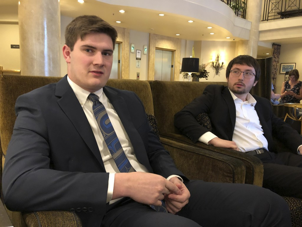 Nathan Baring, left, and Alex Lozano, two plaintiffs that are part of a lawsuit by a group of young people who say U.S. energy policies are causing cl...