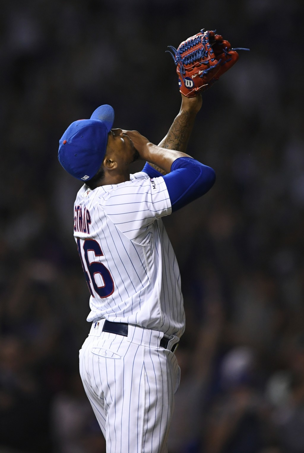 Chicago Cubs closing pitcher Pedro Strop celebrates after defeating the Colorado Rockies 6-3 during a baseball game Tuesday, June 4, 2019, in Chicago....