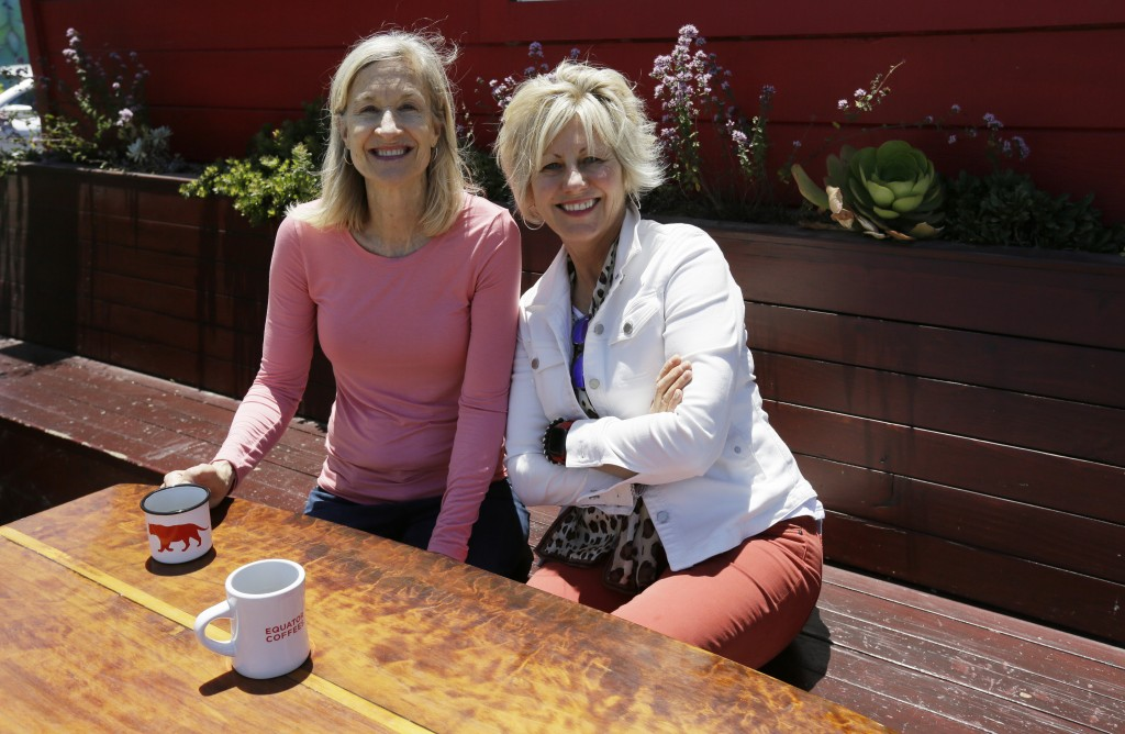 In this Tuesday, June 4, 2019, photo Helen Russell, right, and her partner Brooke McDonnell, co-founders of Equator Coffees, sit outside their first c