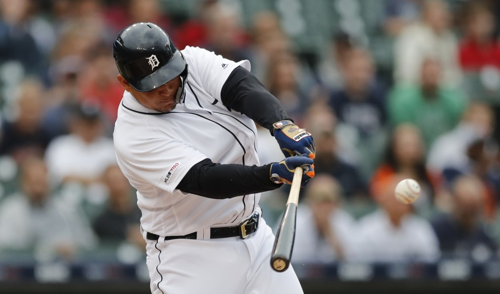 Detroit Tigers designated hitter Miguel Cabrera connects for a single during the first inning of the team's baseball game against the Tampa Bay Rays, ...