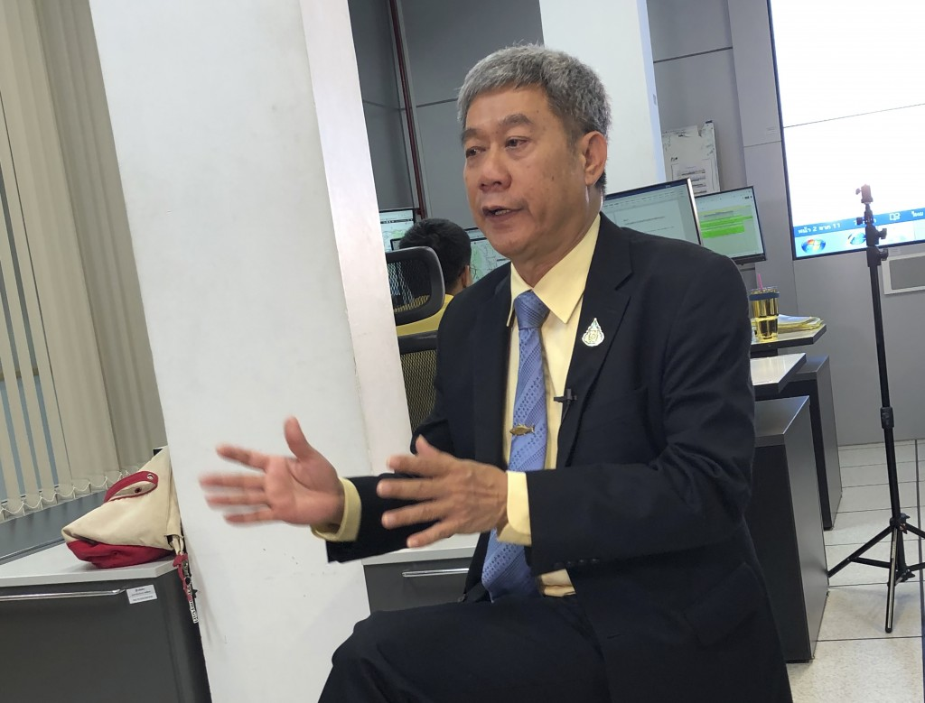 In this May 21, 2019, photo, Adisorn Promthep, director-general of Thailand's Department of Fisheries, speaks during a press briefing on the region's