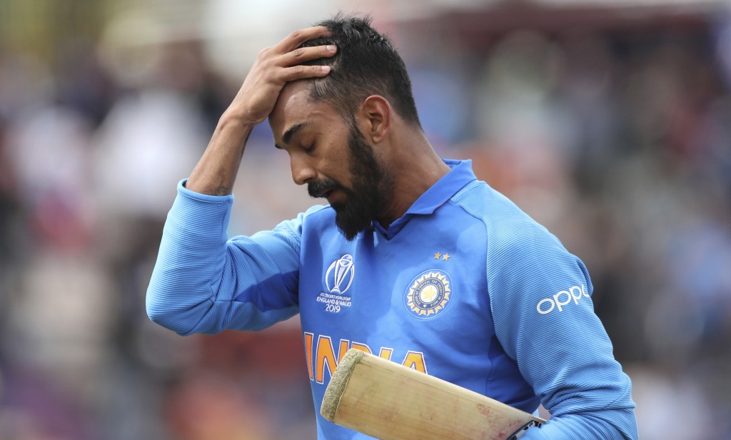 India's K.L. Rahul reacts as he leaves the field after being dismissed during the Cricket World Cup match between South Africa and India at the Hampsh...