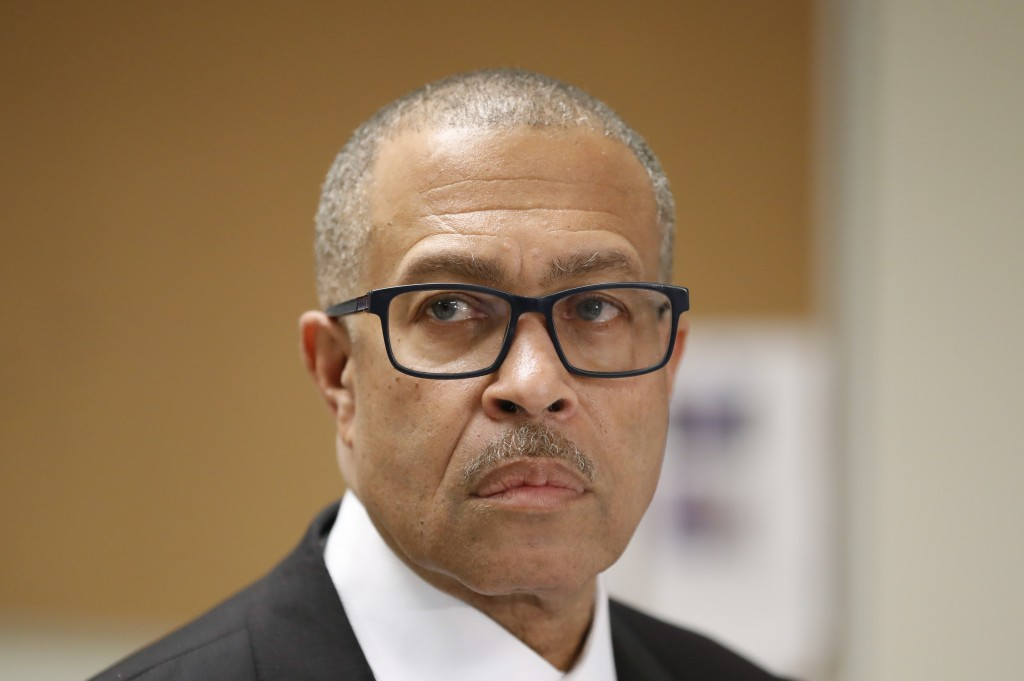 FILE - In this Oct. 19, 2018 file photo, Detroit Police Chief James Craig addresses reporters in Detroit. Police in Detroit say the killings of three ...